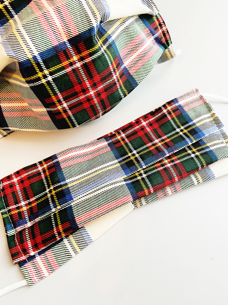 Holiday Plaid |CHOOSE Your Size| Pocket Face Mask w/ Filter, 100% Cotton, Reusable & Washable | 3 Layers | Made in USA
