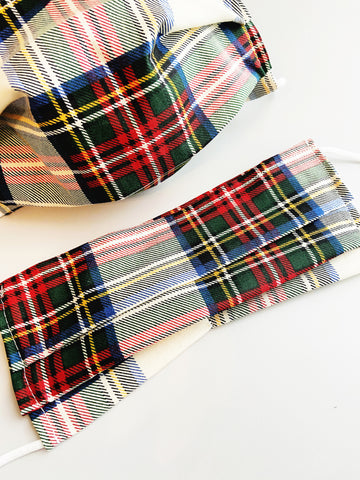 Red Plaid |CHOOSE Your Size| Pocket Face Mask w/ Filter, 100% Cotton, Reusable & Washable | 3 Layers | Made in USA