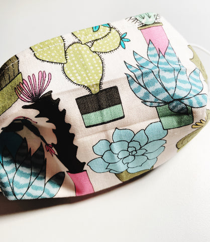 Cactus |CHOOSE Your Size| Pocket Face Mask w/ Filter, 100% Cotton, Reusable & Washable | 3 Layers | Made in USA