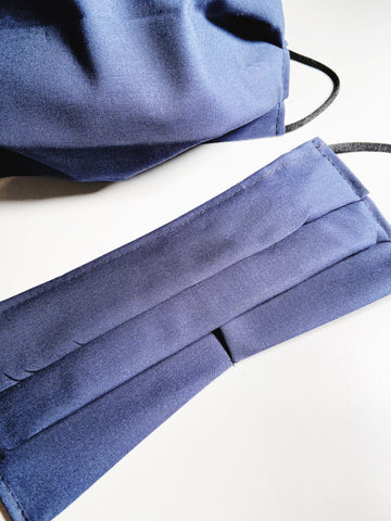 Solid Navy |CHOOSE Your Size| Pocket Face Mask w/ Filter, 100% Cotton, Reusable & Washable | 3 Layers | Made in USA