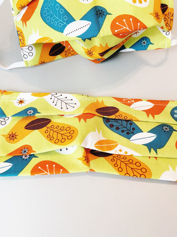 CHOOSE Your Size|Vintage Bird| Pocket Face Mask w/ Filter, 100% Cotton, Reusable & Washable | 3 Layers | Made in USA