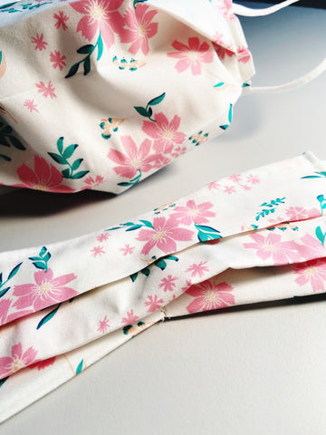 Simply Floral |CHOOSE Your Size| Pocket Face Mask w/ Filter, 100% Cotton, Reusable & Washable | 3 Layers | Made in USA