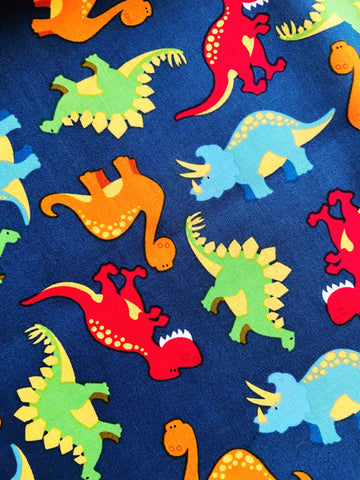 Dinos 2 |CHOOSE Your Size|Pocket Face Mask w/ Filter, 100% Cotton, Reusable & Washable | 3 Layers | Made in USA