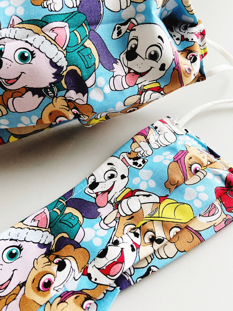 Paw Patrol 2 |CHOOSE Your Size|Pocket Face Mask w/ Filter, 100% Cotton, Reusable & Washable | 3 Layers | Made in USA