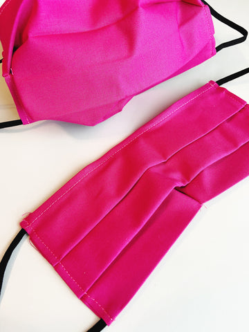 CHOOSE Your Size|Shocking Pink| Pocket Face Mask w/ Filter, 100% Cotton, Reusable & Washable | 3 Layers | Made in USA