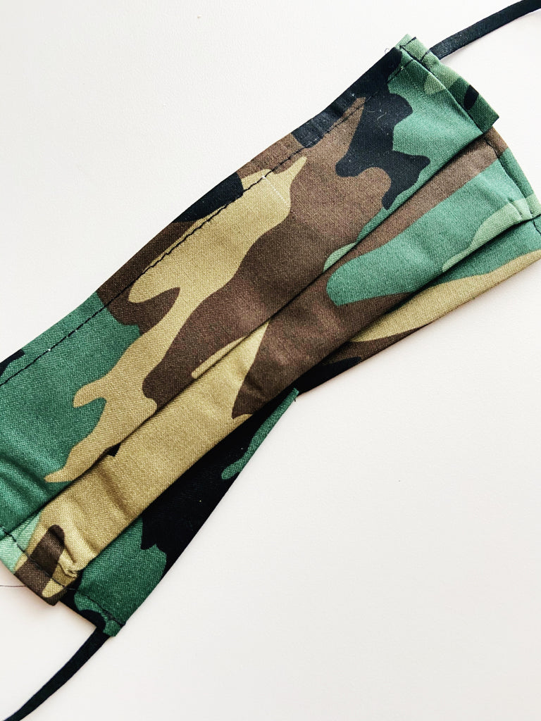 Army Camo |CHOOSE Your Size| Pocket Face Mask w/ Filter, 100% Cotton, Reusable & Washable | 3 Layers | Made in USA