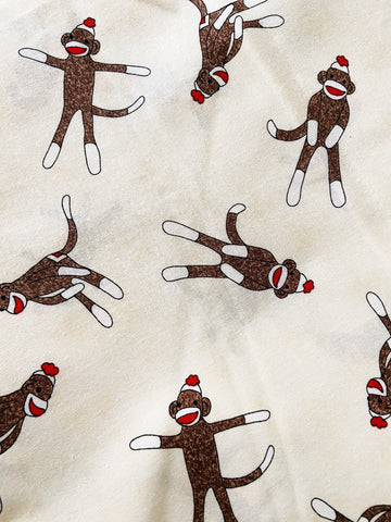 CHOOSE Your Size |Sock Monkey| Pocket Face Mask w/ Filter, 100% Cotton, Reusable & Washable | 3 Layers | Made in USA