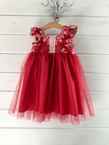 Elegant Tulle Dress - Red