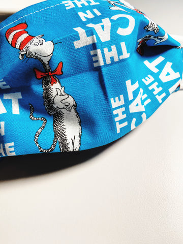 Cat in the Hat |CHOOSE Your Size|Pocket Face Mask w/ Filter, 100% Cotton, Reusable & Washable | 3 Layers | Made in USA