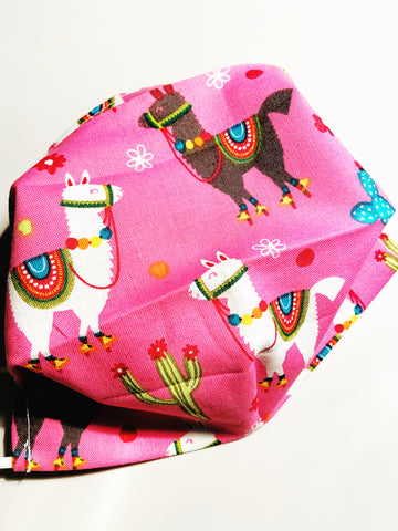 Pink Llama! |CHOOSE Your Size|Pocket Face Mask w/ Filter, 100% Cotton, Reusable & Washable | 3 Layers | Made in USA