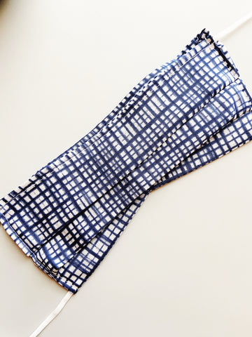 Criss Cross Blue |CHOOSE Your Size| Pocket Face Mask w/ Filter, 100% Cotton, Reusable & Washable | 3 Layers | Made in USA