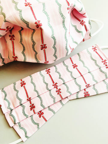 Bows |CHOOSE Your Size| Pocket Face Mask w/ Filter, 100% Cotton, Reusable & Washable | 3 Layers | Made in USA