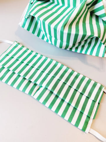 CHOOSE Your Size |Green Stripe| Pocket Face Mask w/ Filter, 100% Cotton, Reusable & Washable | 3 Layers | Made in USA