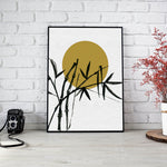 Minimalist Sunset with Bamboo Print