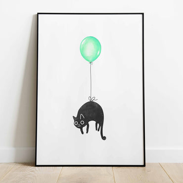 Watercolor Balloon and Cat Print - LineArtPrint