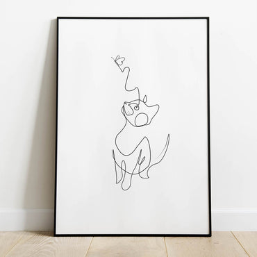 Butterfly with a Cat Line Art Print