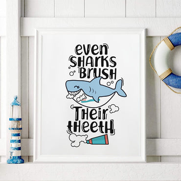 Even Sharks Brush Their Theeth - Baby Shark Print