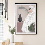 female with cat and morning coffee poster