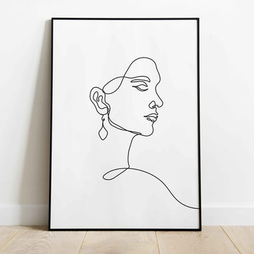Woman Face Line Art Print