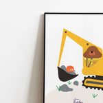Excavator personalised poster for kids