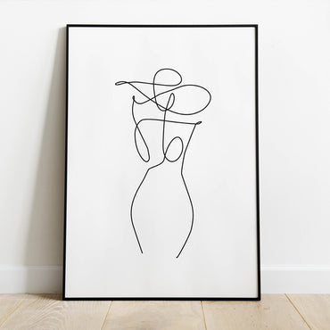Minimalist Lady in a Hat Print - LineArtPrint