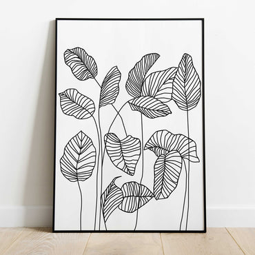 Scandinavian Leaves Line Art Print