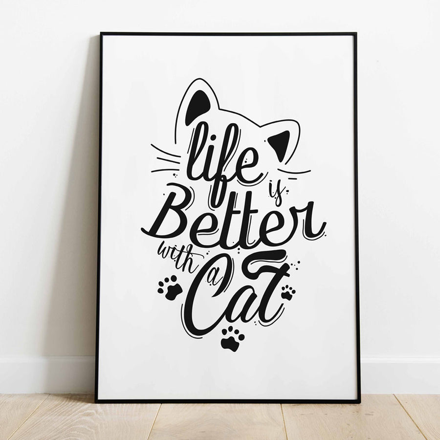 life is better with a cat print