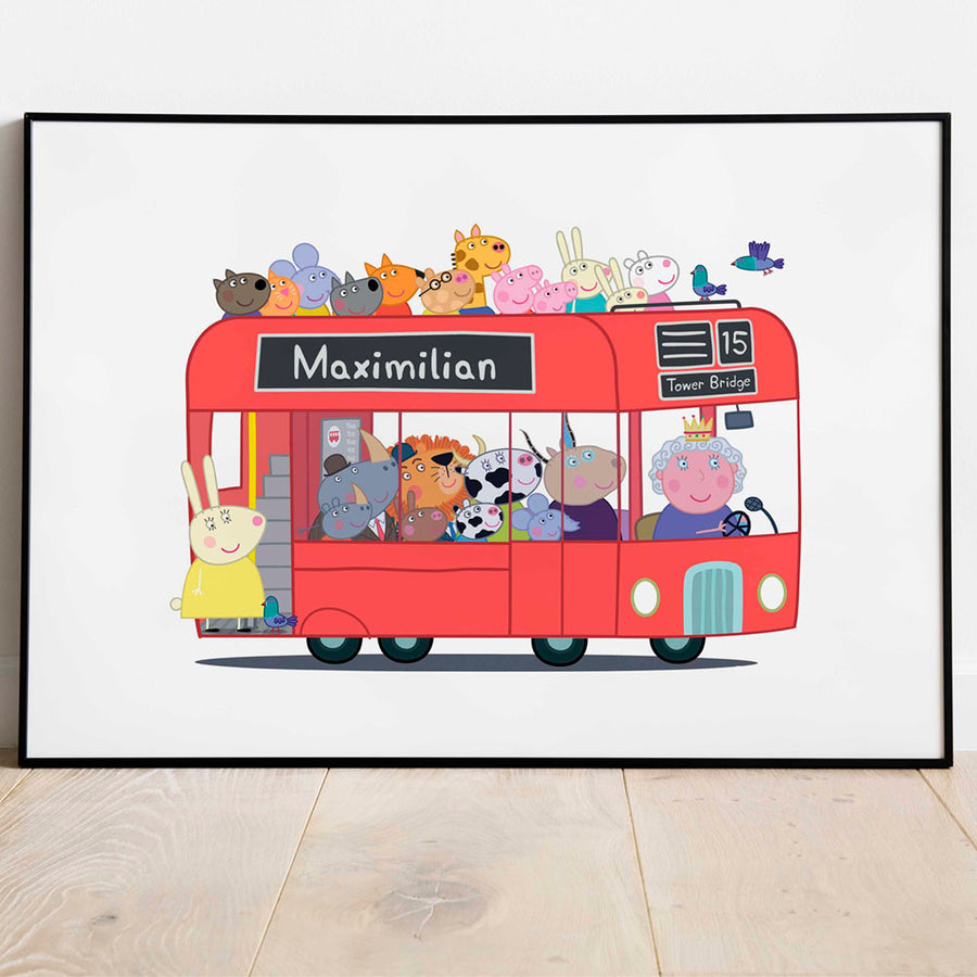 london bus peppa pig print