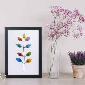 Mid-Century and Abstract Multicolor Flowers Print