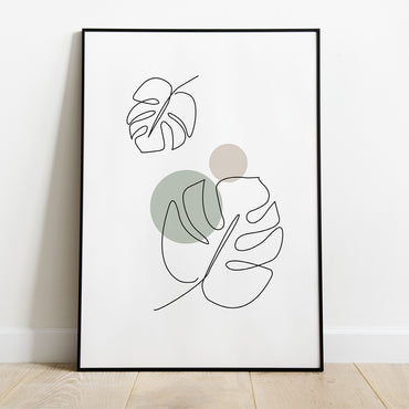 Monstera Leaves Print Line Art