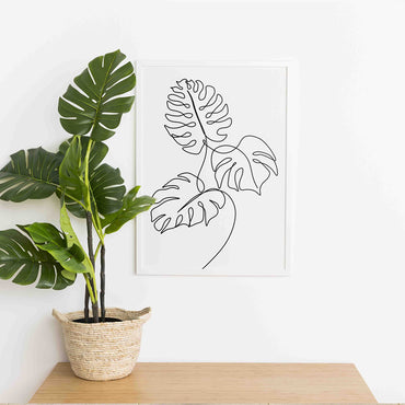 monstera leaves line art print