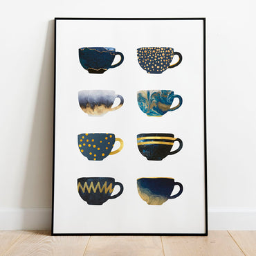 Blue Navy Gold Kitchen Wall Art