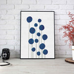 Scandinavian Watercolor Navy Blue Flowers Print - LineArtPrint