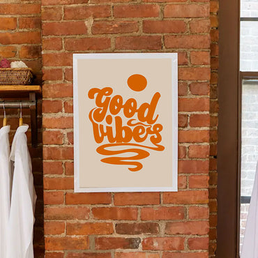 orange good vibes print