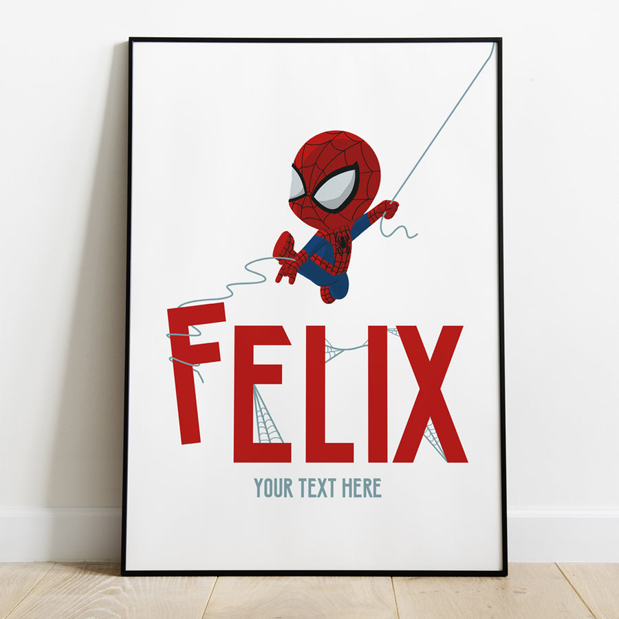 Personalised Baby Spiderman Print