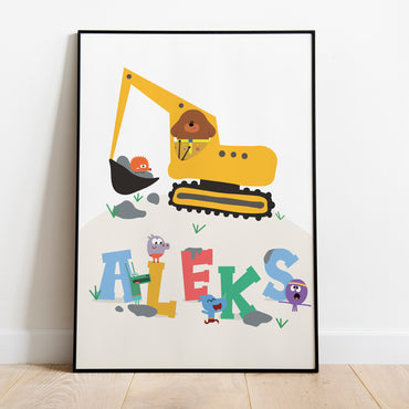 Hey Duggee Print with Excavator