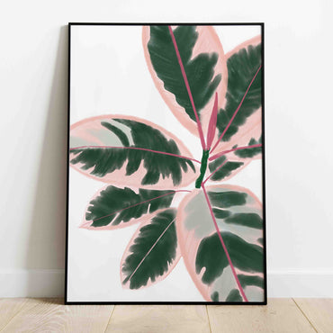 pink ficus leaves print