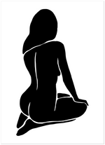 abstract black female body poster nude art