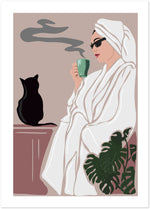 the woman in a bathrobe is drinking coffee