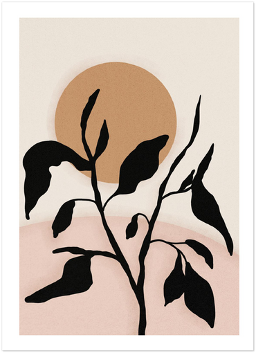 abstract sun leaves poster