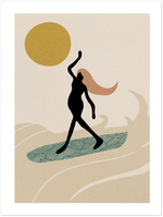 Woman Surfer Print Decor