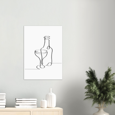 Bottle Wine Line Art Print