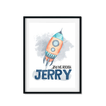 personalised space rocket print