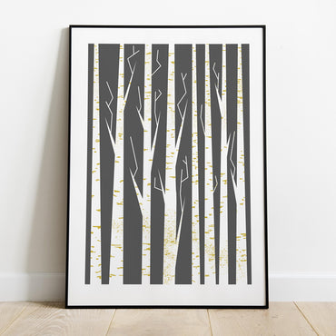 Minimalist Abstract Scandinavian Birch Print