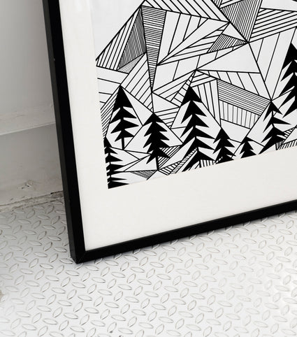 Geometric Mountains Line Art Print - LineArtPrint