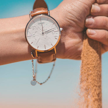 sand in hand with watch print