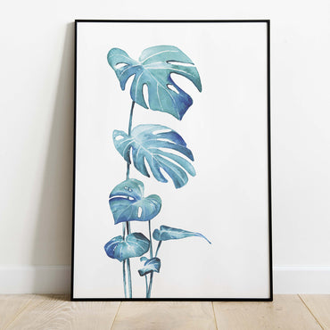 blue leaves print