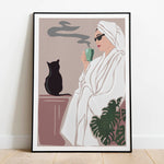 female with cat drinking morning coffee poster