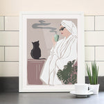 woman with mornin coffee poster