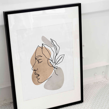 Botanical Female Face Line Art Print